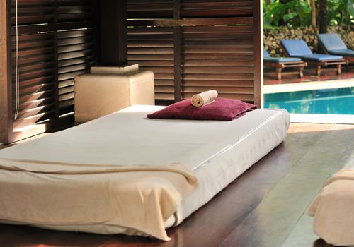 Massage bed in a spa