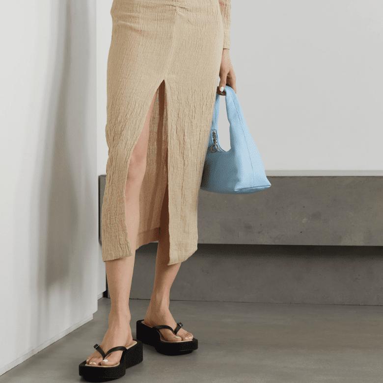 Nanushka Raja Ruched Linen Midi Skirt