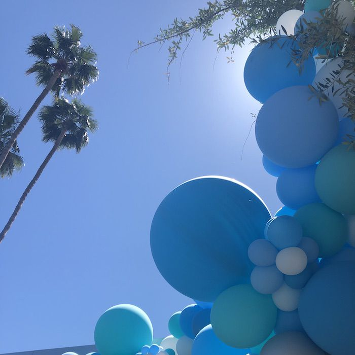 Coachella - view of sky with balloons and palm trees