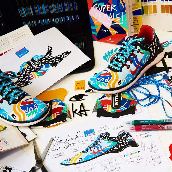 Nike x Kelly Anna Collaboration: Kelly Anna's sketches and the Nike Free running shoe