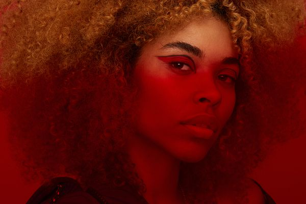 red hue dramatic portrait and makeup