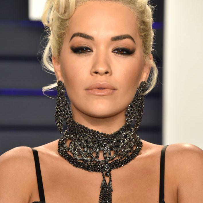 Rita Ora glamorous updo volumized at the crown
