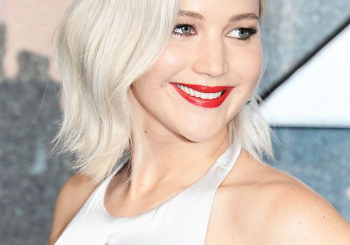 Jennifer Lawrence with silver blonde hair