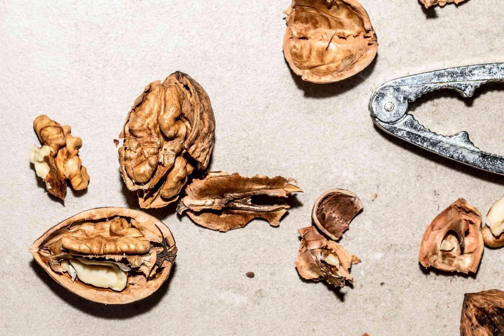 walnut shells cracked open