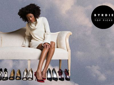Photo composite of a woman on a couch trying on different pairs of shoes.