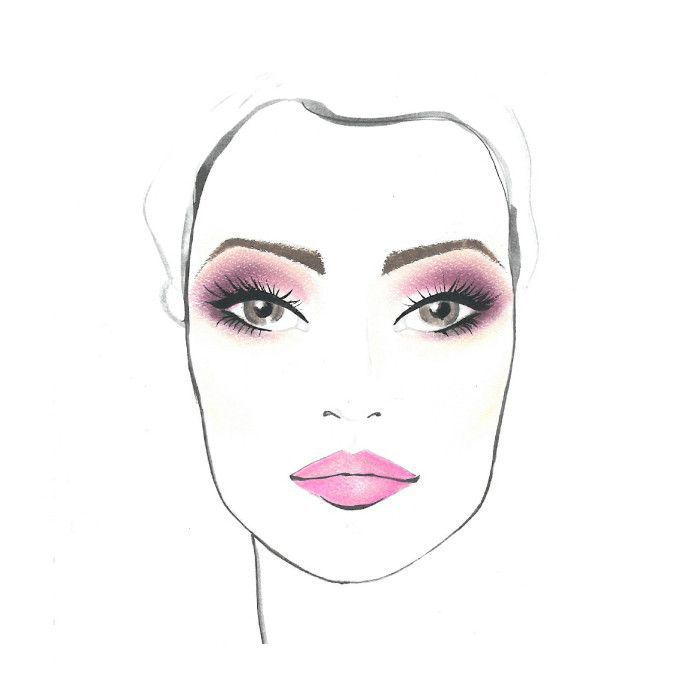 Watercolor of woman's face with makeup accents