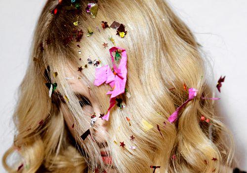 nye confetti in hair