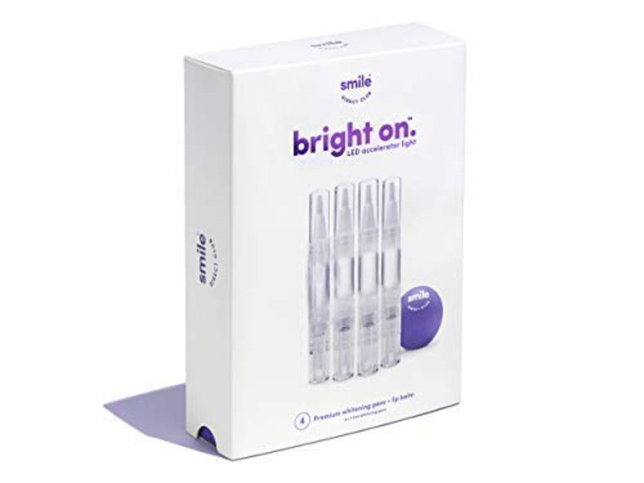 box of Smile Direct Club Bright On Whitening Pens on white background.
