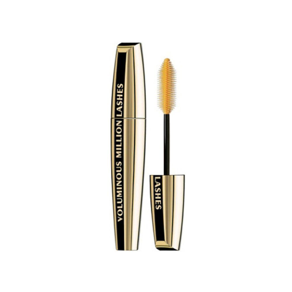 Gold tube of mascara on a white background.