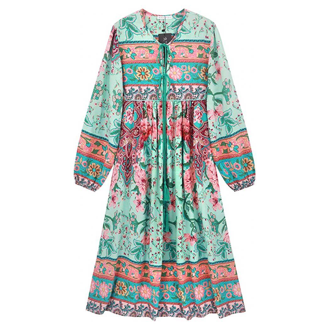 Long Sleeve Floral Print Retro V Neck Tassel Bohemian Midi Dresses