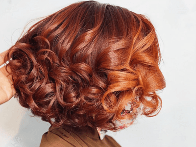 woman with orange ombre hair
