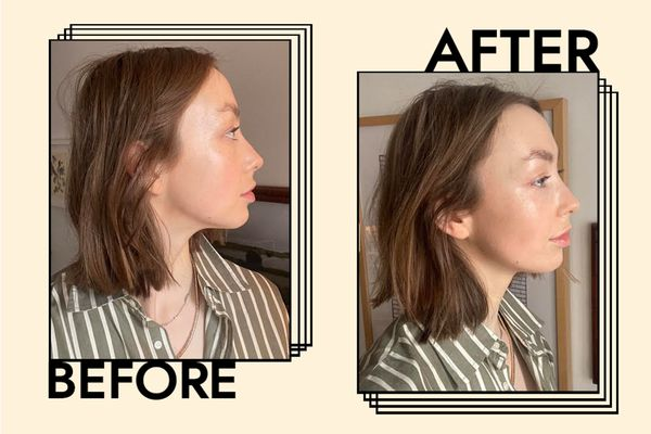 before and after photo of Erika Veurink after using Lulu Organics Hair Powder