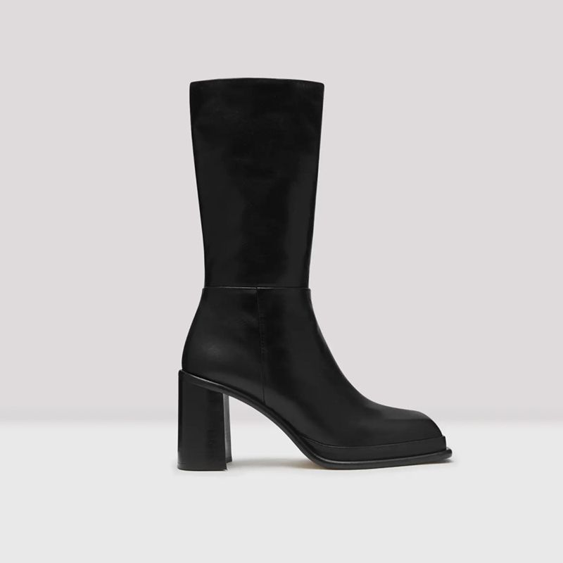 Abril Black Leather Boot