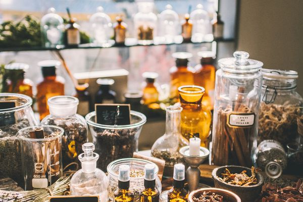 perfume bottles and ingredients