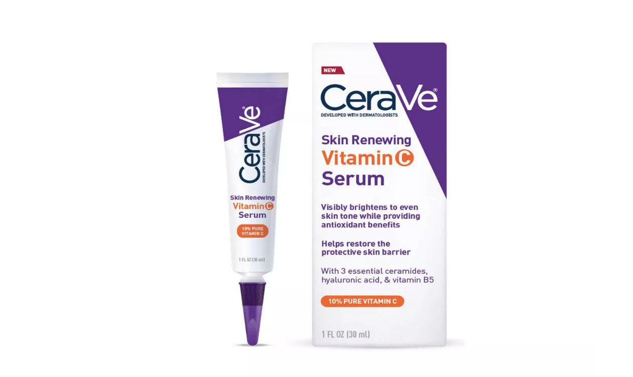 A box and tube of CeraVe Skin Renewing Vitamin C serum for sensitive skin at Target