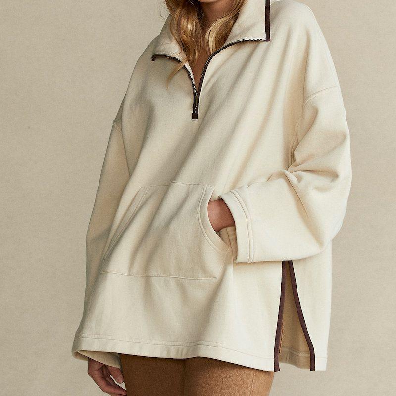 Ralph Lauren Leather-Trim Fleece Poncho