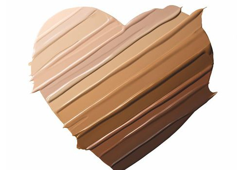 Benefit Hello Happy Soft Blur Foundation all shades in the shape of a heart