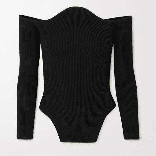 Khaite Maria Off-the-Shoulder Ribbed-Knit Sweater