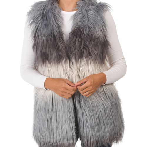 Do Everything in Love Color Block Faux Fur Vest