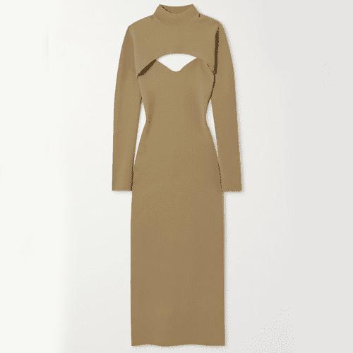 Nanushka Noa Layered Stretch-Knit Midi Dress