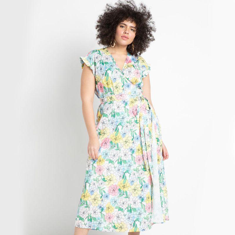 Eloquii Satin Wrap Dress