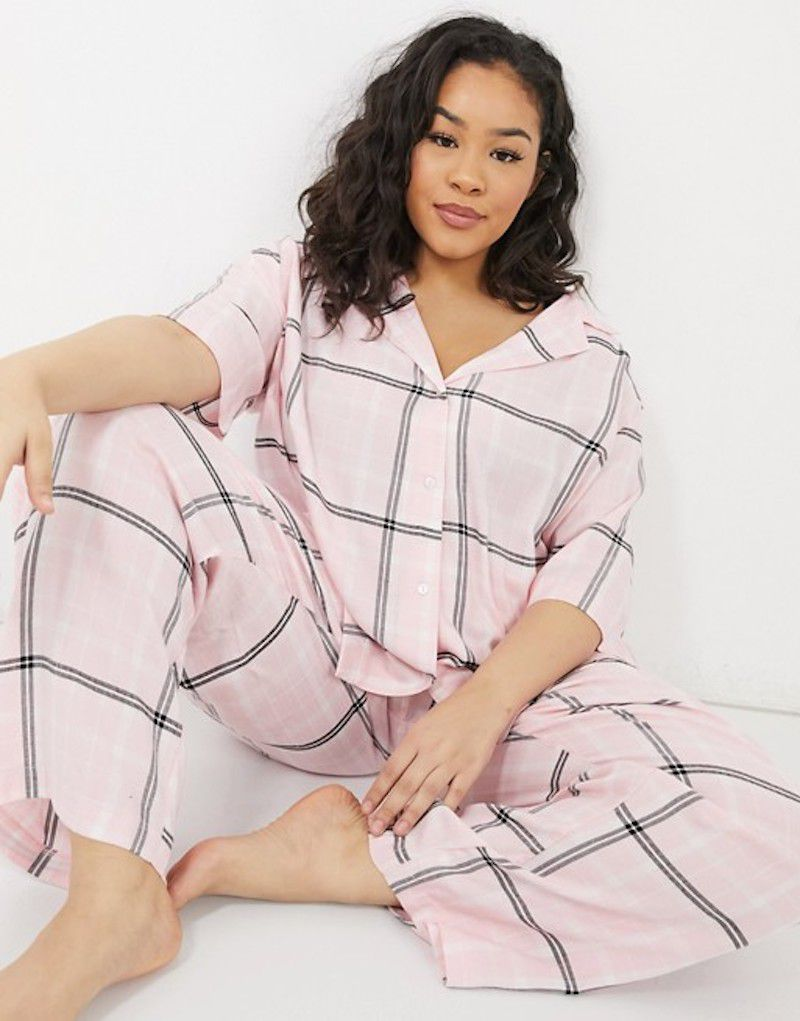 ASOS DESIGN Curve Mix & Match Check Straight Leg Pajama Pants With Jacquard Waistband in Pink