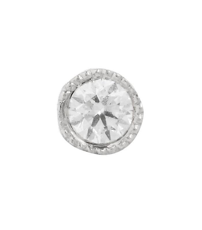 tragus piercing: Maria Tash 1.5mm Scalloped Set Diamond Threaded Stud White Gold Earring