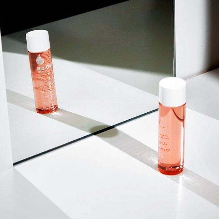 Bio-oil review: bottle of bio-oil in mirror