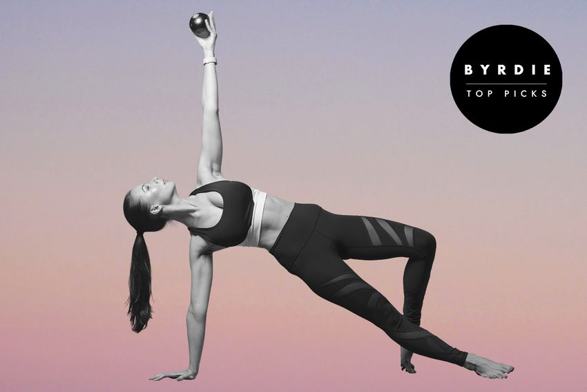 Photo composite of woman in athletic wear in a side plank holding a weighted ball above her