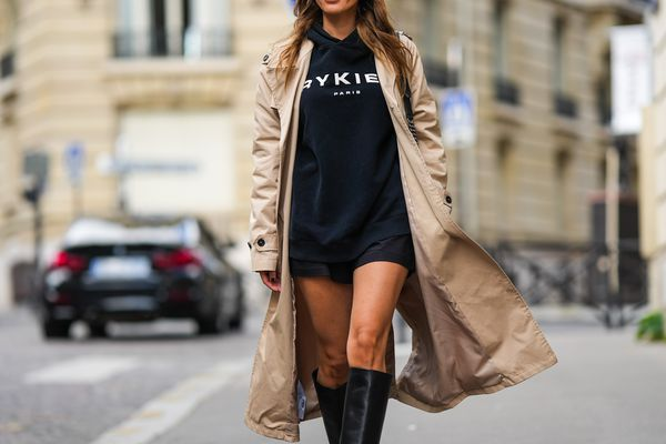 Woman with tanned legs wearing boots and a coat
