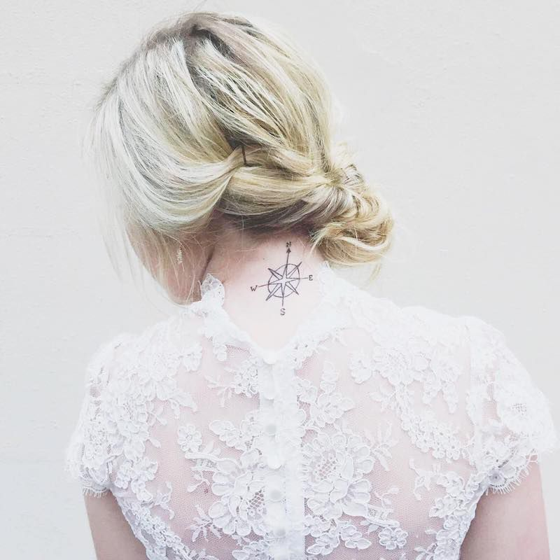 Compass Tattoo Inspiration Back of Neck