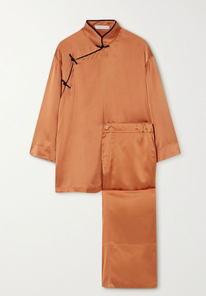 Olivia Von Halle Harlow Copper Silk Pajama