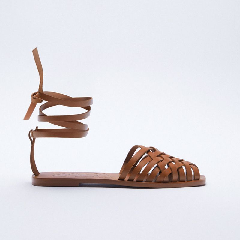 Tied Flat Leather Sandals