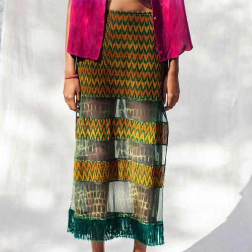 Abacaxi Mixed Media Skirt