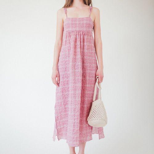 Belize Louisa Red Check Cotton Strap Dress