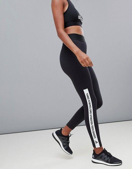 Adidas Training Brand With Three Stripes Slogan Leggings in Black