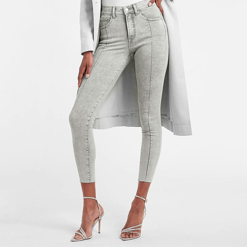 Mid Rise Gray Seamed Raw Hem Skinny Jeans