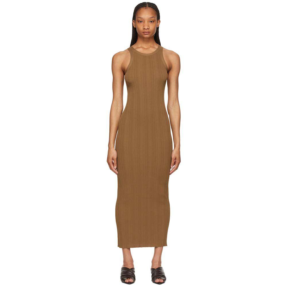 Brown Rib Knit Tank Dress