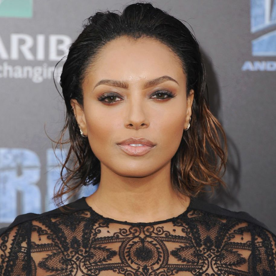 Kat Graham wet-looking tousled bob with ombré