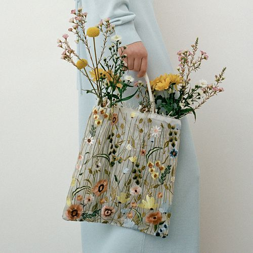 Tulle Floral Embroidery Tote Bag ($50)
