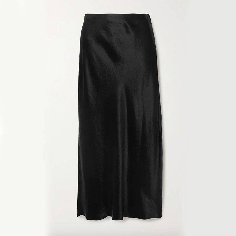 Hammered-Satin Midi Skirt
