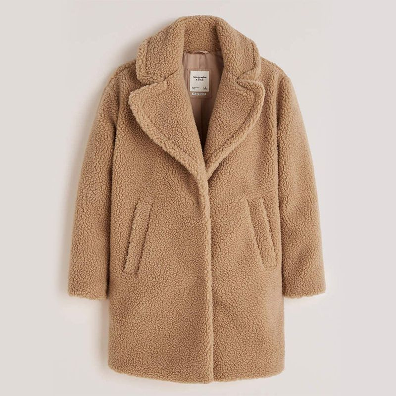 Abercrombie & Fitch Mid-Length Faux Fur Coat