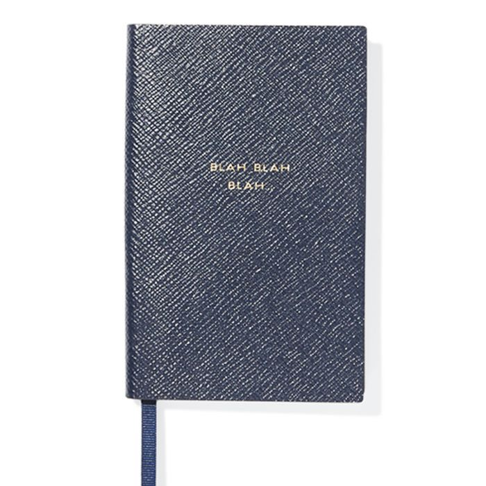 Foods to avoid before bed: Smythson Panama Blah Blah Blah Textured-Leather Notebook