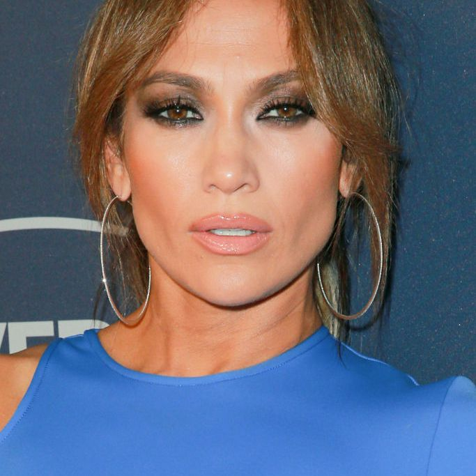 Jennifer Lopez updo with curtain bangs