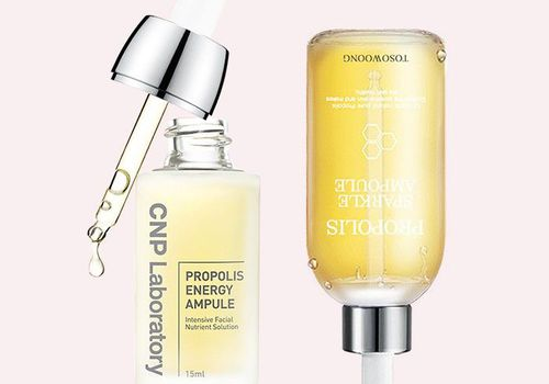Two Propolis Skincare Products against light pink background
