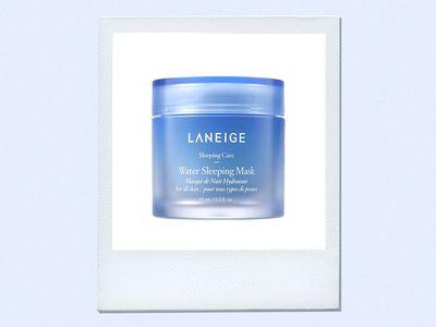 Laneige Water Sleeping Mask on polaroid with blue background