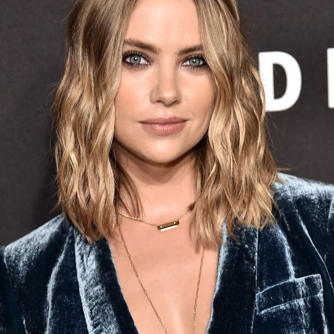 Ashley Benson with gelled textured hair at the dkny anniversary party