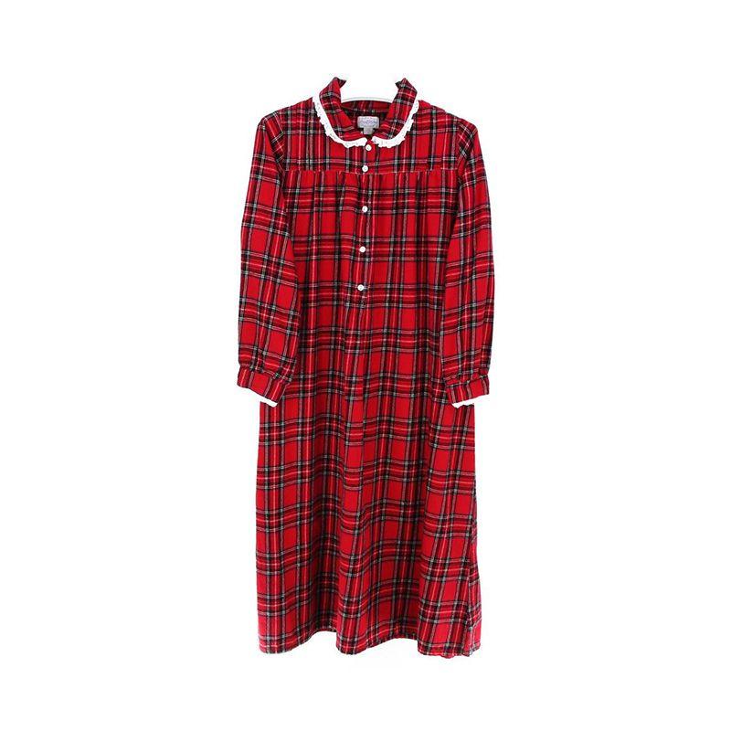 Lanz Red Tartan Peter Pan Flannel Gown