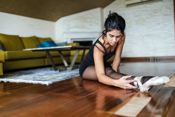 Ballerina practicing at home