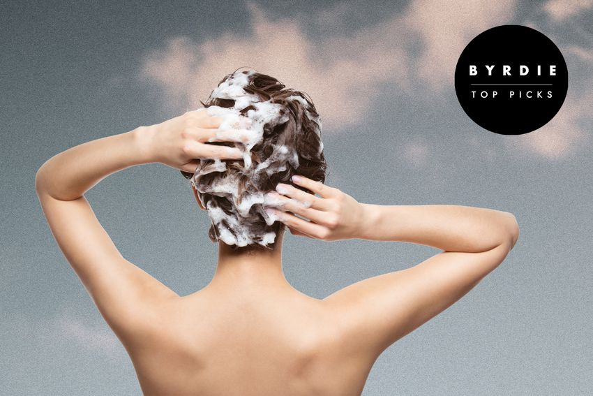 Photo composite of woman from behind shampooing her hair
